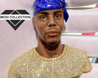 Face Pendant \u2013 Large Modernist Facial 3D Sculptural Statement Jewelry \u2013 Magenta Foil Art Glass /& Crystals \u2013 OOAK 1980s