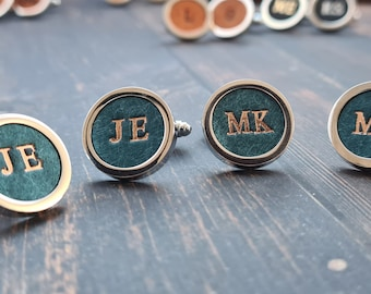 Leather Cufflinks, Personalised Gift for Him, Leather 3rd Anniversary Gift, Personalised Groomsmen Gift, leather Groom gift, Cufflinks UK