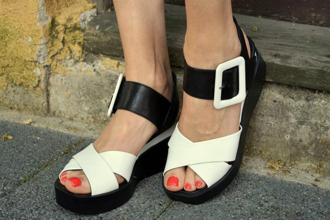 Summer genuine leather wedges platform sandals Slingbacks & Slides