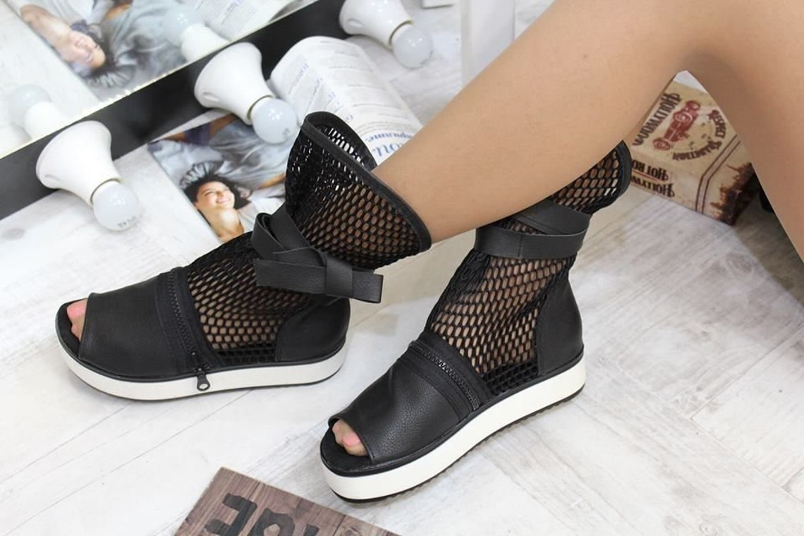 Summer fishnet mesh platform sneakers ankle boots Cotton Canvas High Shoes  Vegan Flower of Life Boots Barefoot Gypsy Shoes Bohemian Boots