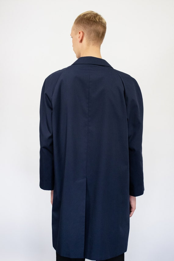 Vintage trench coat (80s, 90s, navy blue trench c… - image 5