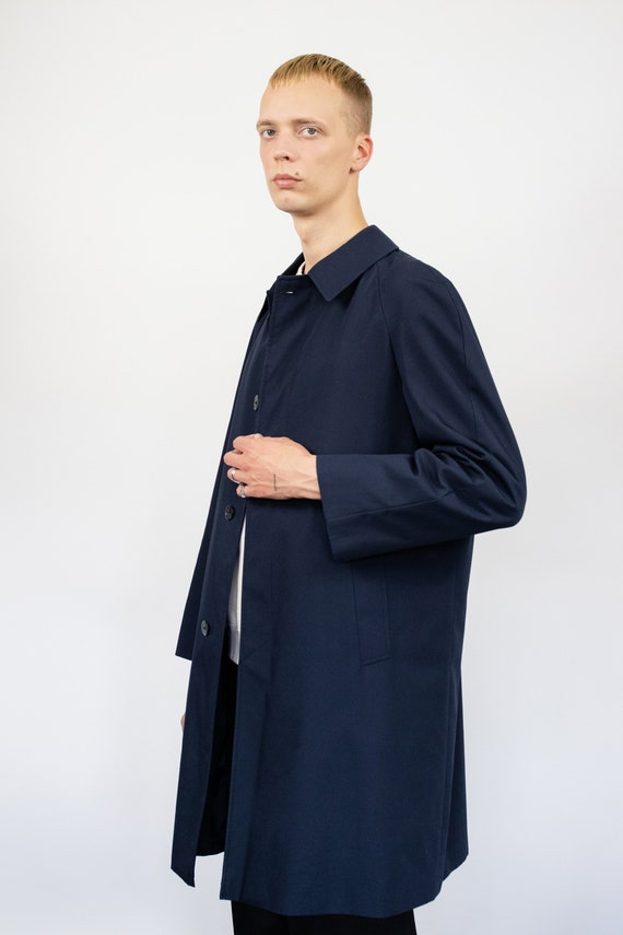 Vintage trench coat (80s, 90s, navy blue trench c… - image 3