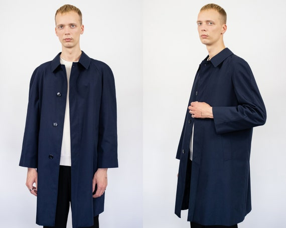 Vintage trench coat (80s, 90s, navy blue trench c… - image 1