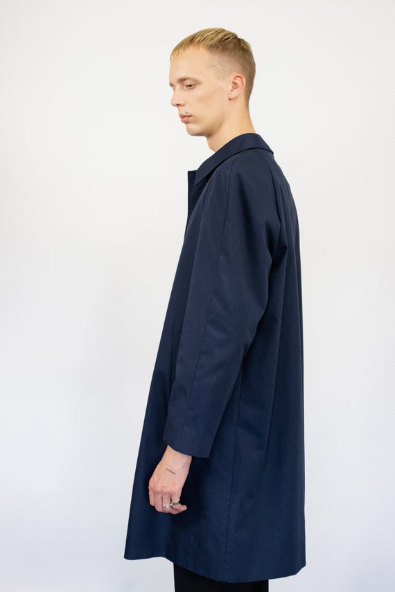 Vintage trench coat (80s, 90s, navy blue trench c… - image 4