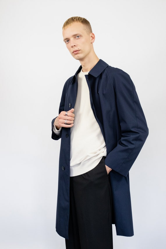 Vintage trench coat (80s, 90s, navy blue trench c… - image 6
