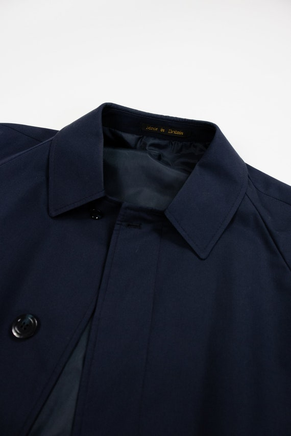 Vintage trench coat (80s, 90s, navy blue trench c… - image 7
