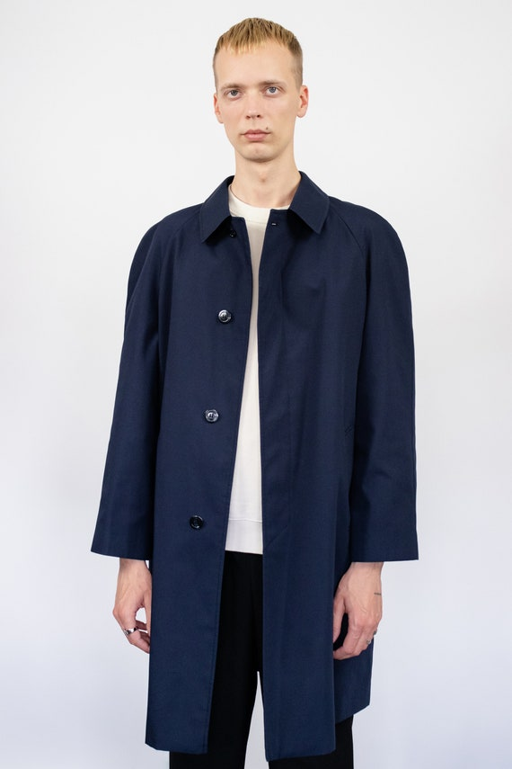 Vintage trench coat (80s, 90s, navy blue trench c… - image 2