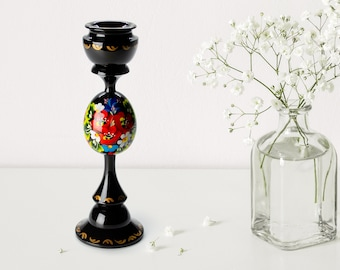 S071 Handmade Black Candle Holder Petrykivka Ukrainian Gift Hand Painted Wooden Tall Candlestick Holder Table Decor For Home