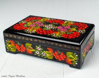 Trinket Ring Box Unique Decorative Box Small Lacquer Box Ukrainian Gift Petrykivka S171 Hand Painted Jewelry Box Handmade Wedding Favor