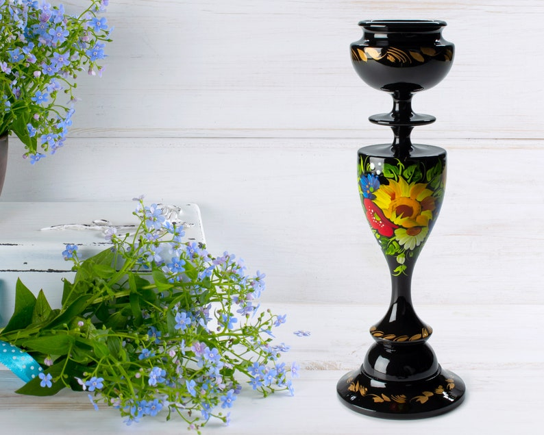 Tall Hand Painted Wooden Candlestick Holder Black Candle Holder S221 Handmade Table Decor For Home Petrykivka Ukrainian Gift
