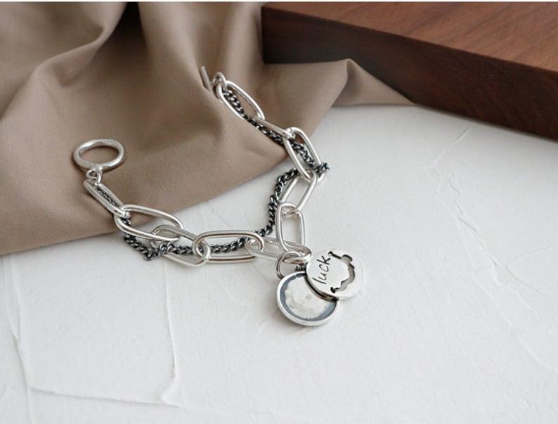 Oxidized Vintage Sterling Silver 925 Bracelet Logo Hardware Chain linked