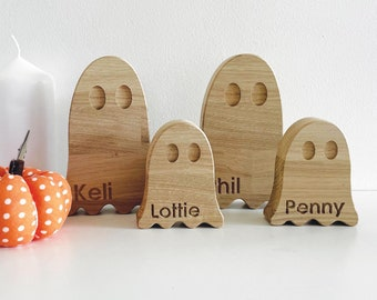 Personalised wooden ghost ornaments | Halloween decorations, fall decor, halloween ornaments, ghost sculpture, halloween centerpiece