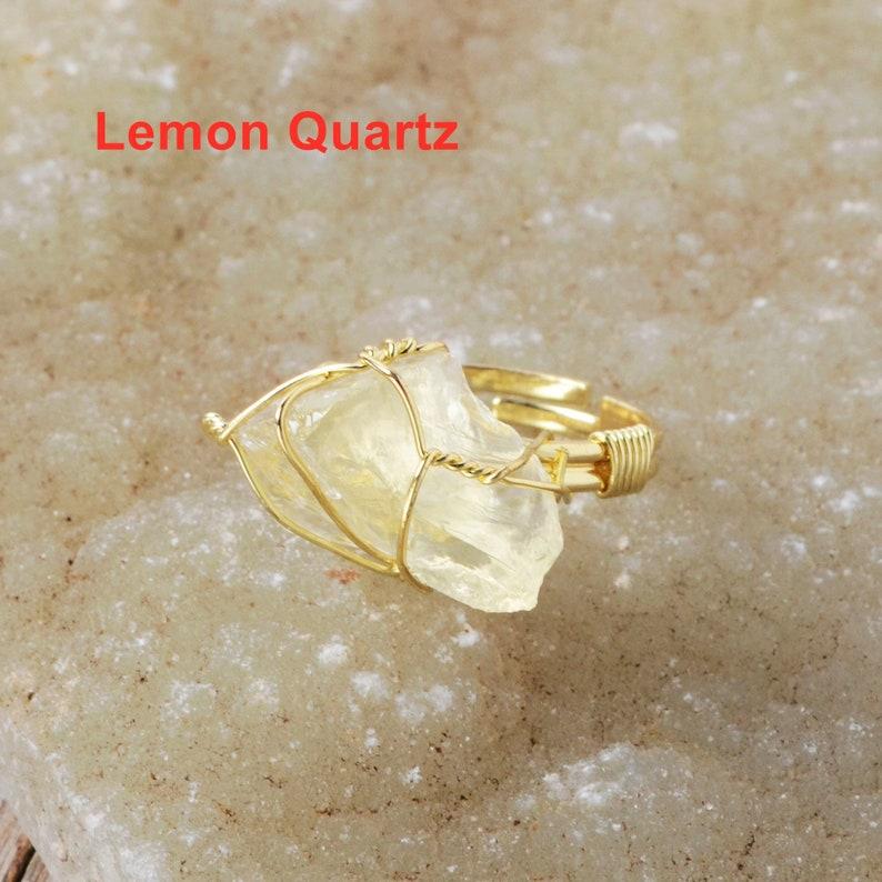 Healing Crystal Ring Wire Wrap Ring Amethyst Adjustable Gemstone Rings Crystal Birthstone Ring Raw Crystal Ring Crystal Ring for Women