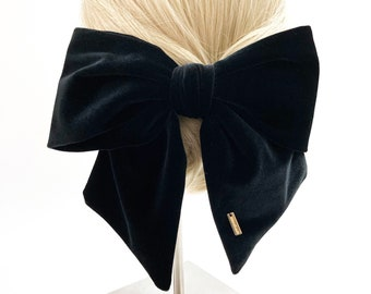 Velvet Solid Color Bow Decorated French Hair Barrettes