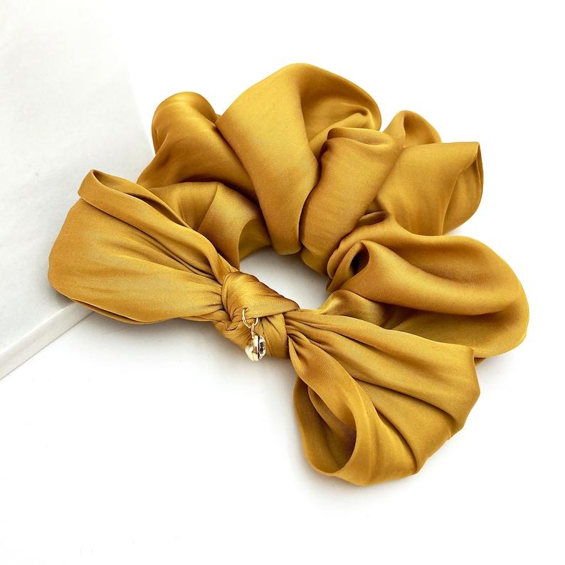 hair scrunchie set Quality silky scrunchie with bow Silk satin scrunchie with bow for women Royal blue silky scrunchie