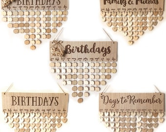 Wood DIY Calendar Family  Birthday Reminder Board Home Décor Wall Hanging