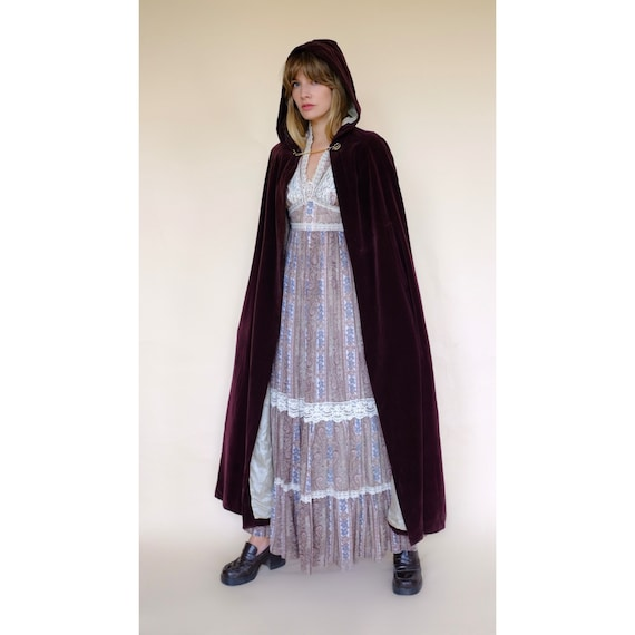 Vintage 60s/70s Brown Velvet Maxi Cape Robe Coat … - image 1