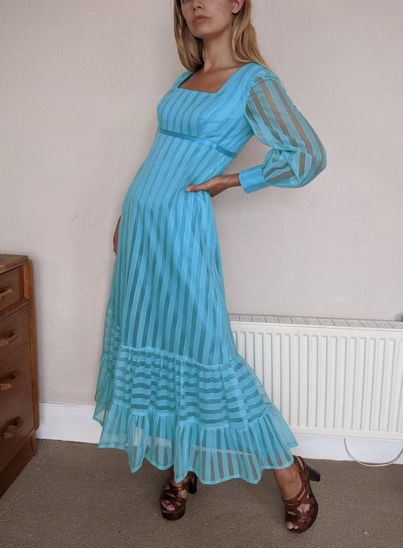 Late 1960s 'Quad' Blue Maxi Dress Stripes Sheer Be