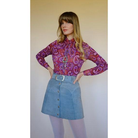 Vintage 60s 70s Peasant Style Hippie BoHo SoHo Blouse Top Retro Short Sleeve Rockabilly Blouse Women/'s Lounge Hostess Festival Shirt