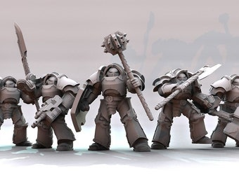 Paragon Heavy Armored Soldiers | Space Knights | Compatible with 28mm Sci Fi Wargames | 5x