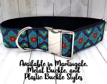 Giant Large Whippet Unique Custom Options Leash Flowers Pitbull Martingale Set Collar Increase Width or Length Greyhound