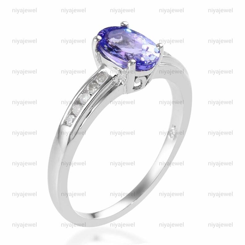 Raw Tanzanite Ring,thanksginving gift Tanzanite Ring-Tanzanite Ring Silver Dainty Oval Ring Natural Tanzanite Ring-Silver,Tanzanite Ring