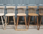 New Solid Wood Farmhouse Kitchen Dining Bar Stools in Natural colour or Stained