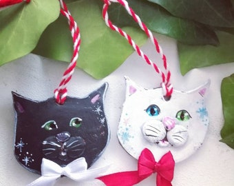Love cats Valentines day decoration Black and White Cats Ginger Gray - perfect for any cat lover gift for him or her - made to order