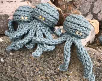 Octo the octopus dog toy - Small - Blue - 100% recycled cotton with wool filling