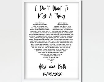 I Don/'t Want To Miss A Thing Black Heart Quote Song Lyric Print