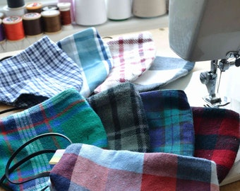 Unique ECO Tartan Face Covering - Made in Scotland. Comfort fit, adjustable ear loops, filter pocket, nose wire, washable, free uk shipping.