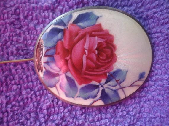 Guilloche Sterling silver Enamel Dark Red Rose n l
