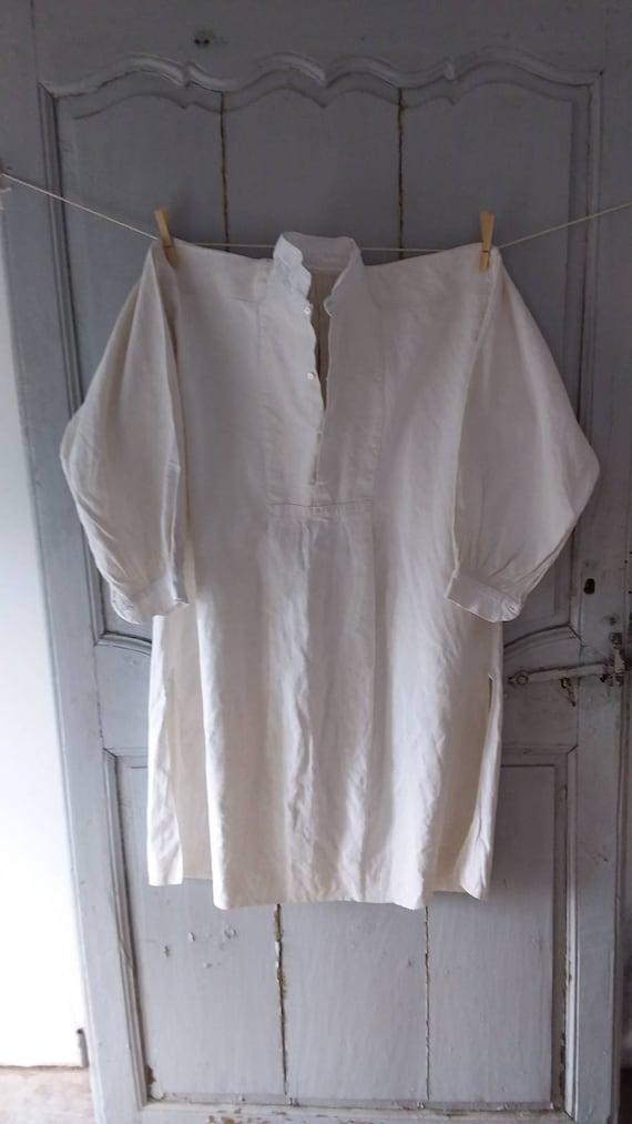 Fine Antique French chenvre hemp shirt - image 1