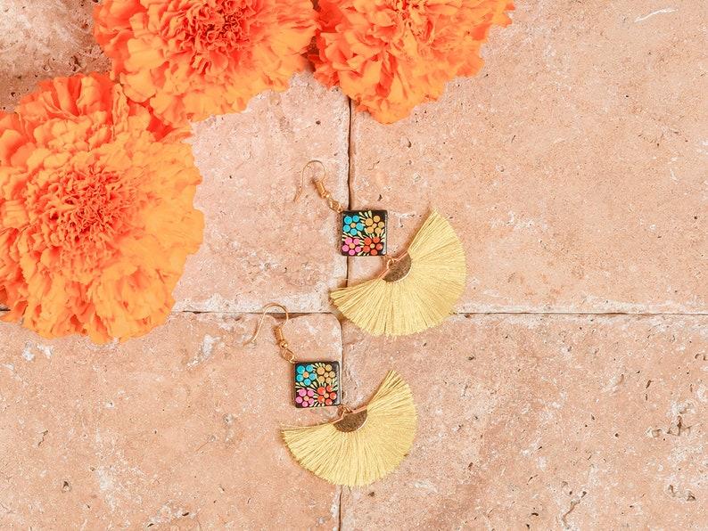 Hand Painted Diamond Tassel Earrings Mexican Earrings Mexican Jewelry Artisanal Earrings Silk Thread Earrings Artisanal Earrings