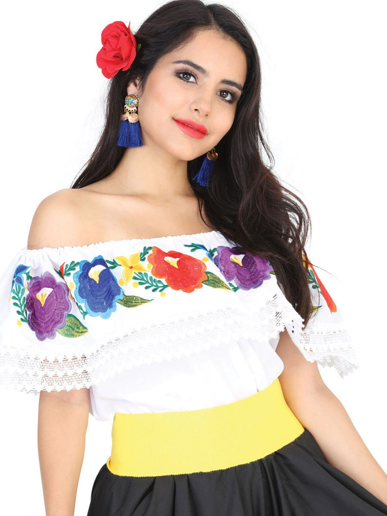 Traditional Mexican Blouse Floral Embroidered Mexican White Blouse Artisanal Floral Off the Shoulder Mexican Top