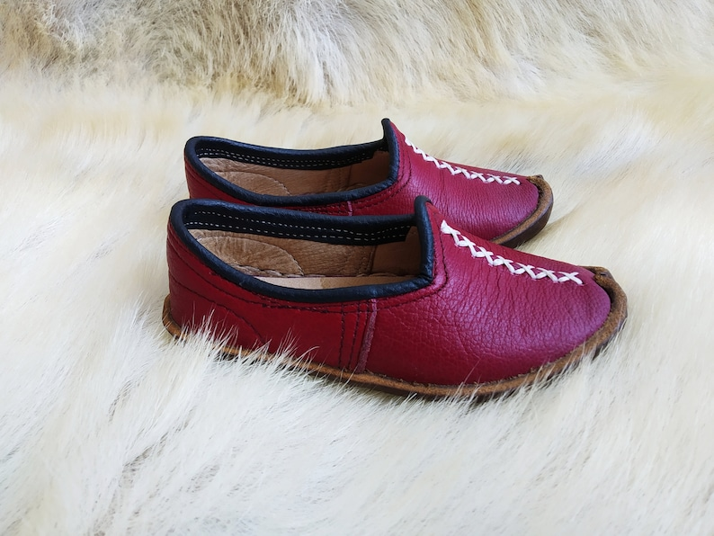 Burgundy Baby and Kids Shoes Leather Turkish Sabah Slip Ons Slippers Handmade Loafer Medieval Flats Bohemian Moccasins Men/'s Women/'s Yemeni