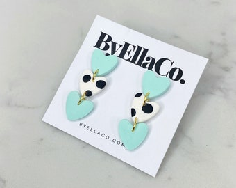 Gift for her. Dalmatian print polymer clay earrings Stainless steel Handmade jewellery