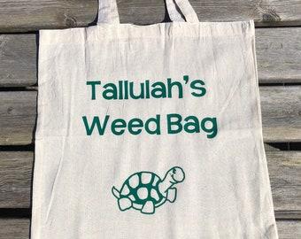 Personalised Tortoise Weed Picking Bag ideal pet gift