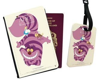 Alice in Wonderland passport wallet,gift to girlfriend Cheshire cat leather passport cover