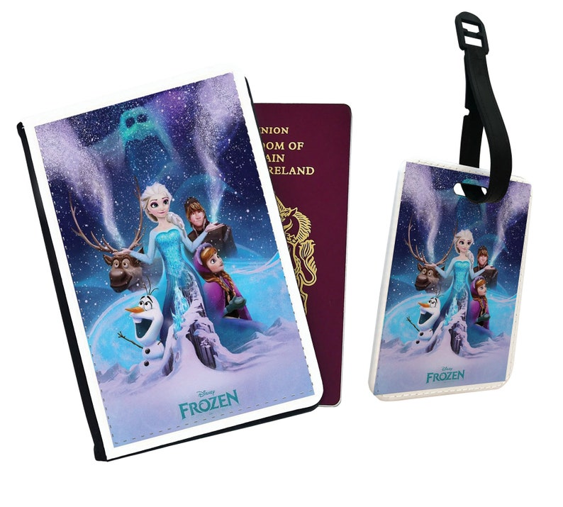 Personalised Faux Leather Passport Cover /& Luggage Tag Disney Frozen Olaf Snow Cosplay Elsa Travel Lovers Vintage Disneyland Friends Gift