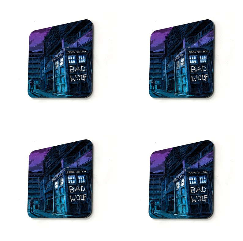 Bad Wolf Phone Booth Grafitti Gift 9 x 9cm Personalised High Gloss  Drink Cup Coaster