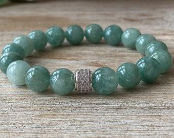 Natural Burmese Jade Gemstone Bead Bracelet, Green Burmese Jade Cubic Zirconia Crystal Bracelet, Men's/Women's Bracelet, Mother's day Gift