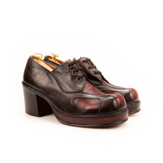 Authentic real leather 70's platforms for men