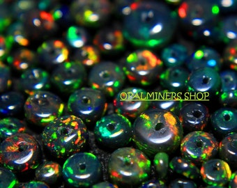 Mixed Black Opal Fire Smooth Rondelles Size 5-3mm 14 Inches