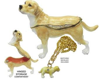 Labrador Jeweled Trinket Box with Austrian Crystals