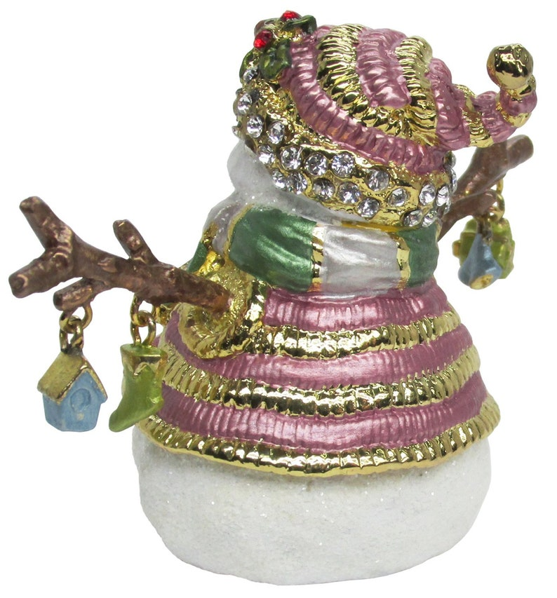#2 Snowman Jeweled Trinket Box with Austrian Crystals