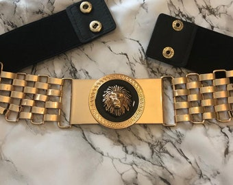 Gold lions luxury 3 D medusa head belt statement belt black lion AnimaL Belt stretch waist belt  Gold lion ladies  luxury 3d belt with