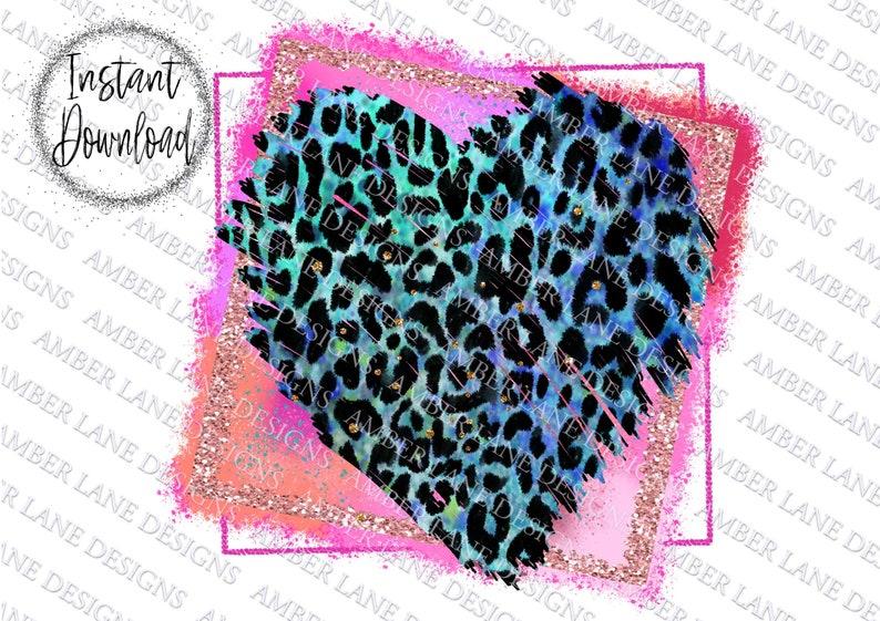 valentines Glitter frame Sublimation file Blue leopard heart PNG