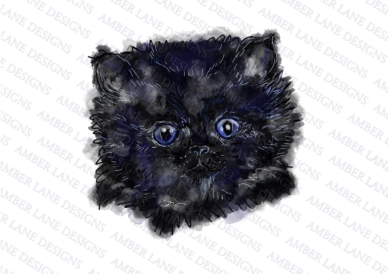 Hand Sketched PNG File Love Halloween Cat Sublimation Design for Digital Download and Printable
