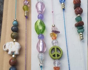 Beaded Bookmarks / Healing Chakra Balance / Glass Beads Gemstones Crystals / Turquoise Amethyst Citrine Green Aventurine / Elastic Bookmarks